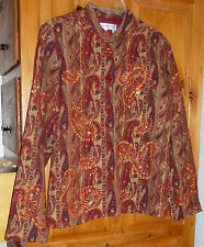 COLDWATER CREEK * Embellished Bling Paisley TAPESTRY JACKET Brown Earth Tones S