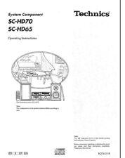 Technics SC-HD65 SC-HD70 ST-HD70 SE-HD70 SE-HD65 SL-HD70 RS-HD70 Manual Reprint