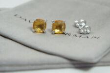 David Yurman 925 Silver 9mm 14k Gold Citrine Diamond Chatelaine Earrings & Pouch
