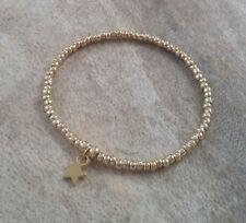 Gold Beaded Lucky Star Charm Stretch Bracelet Surfer Beach Boho HANDMADE