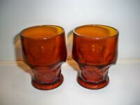 2 BROWN  AMBER VINTAGE GLASSES HONEY COMB DESIGN 4''