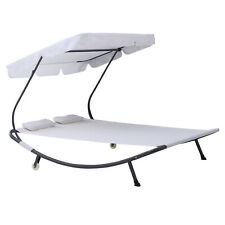 Double Hammock Sun Lounger Bed 2 Pillows Canopy Shelter Wheels Cream White