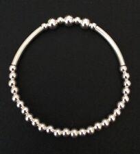 Sterling Silver Plain Beaded Noodle Tube Stretch Bracelet. Silver Bracelet.