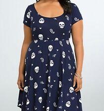 Torrid Skull Floral Paisley Knit Skater Dress Navy Size 4 AKA 4 XL 26 #0765