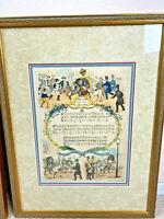 "The Lion & Unicorn VTG Nursery Rhyme British Picture Frame Illustration 16x20"""