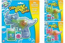 Dinosaur Bubble Gun Blower Friction Power Light Up LED Kids Party Bag Fun Toy