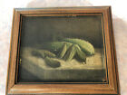Rare Antique Still Life Painting of Cucumbers Signed Helen Burr <br/> Still life descended in Southern Family from Tennessee