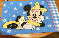Disney Minnie Mouse One Pillowcase Blue Gingham Checked Vintage Reversible