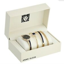 Anne Klein Watch * 2216NVST Swarovski Gold & Black Twist Bangle Set for Women