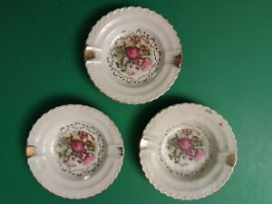3 Vintage Porcelain Ashtrays, Victorian Man & Woman