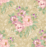 Floral Wallpaper in Cream Purple Green Pink Inspired by American Tapestries