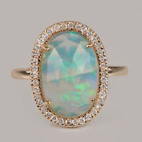 Solid 14k Yellow Gold Pave Diamond Opal Gemstone Ring Vintage Style Fine Jewelry