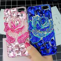Girl's Hot Luxury Bling Diamond Gems Flower Jewelled Hard Back Phone Case Cover