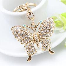 New Crystal Butterfly Keychain Handbag Pendant Key Chain Charm Keyring Keyfob