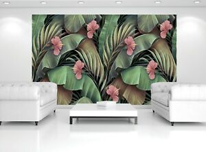 Tropical Flowers Vintage Wall Mural  Photo Wallpaper Giant Paper Poster