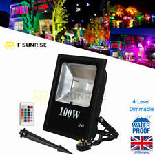 100W Floodlight RGB IP65 Outdoor Garden Wall Security LED Flood Light + Remote