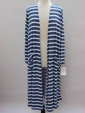M - Medium LuLaRoe Sarah Beautiful Blue White Stripes Duster Cardigan NWT 29