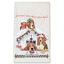 Basset Hound Howliday House Christmas Kitchen Towel Holiday Pet Gifts