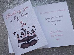 Personalised Inside - Sending a Hug card, Missing you card + Envelope
