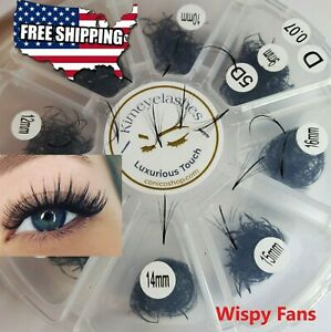 5D Wispy 1000 Premade Volume loose Fans Black Eyelash Extensions Promade mixed