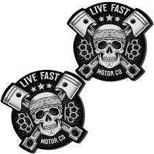 2 Pegatinas Skull Live Fast Calavera Adhesivo Sticker Coche Auto Moto Race B 164