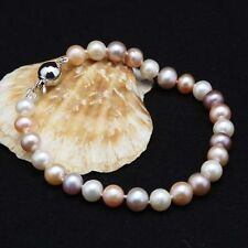 7-8MM Genuine Natural Mix Color Freshwater Akoya Pearl Bracelet Bangle 7.5'' AAA
