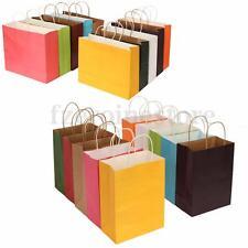 10 Color Kraft Paper Bags + Handle Birthday Gift Xmas Souvenir Shop S M L XL New