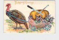 ANTIQUE POSTCARD THANKSGIVING TURKEY GREETINGS SHELL CART PULLING PUMPKIN