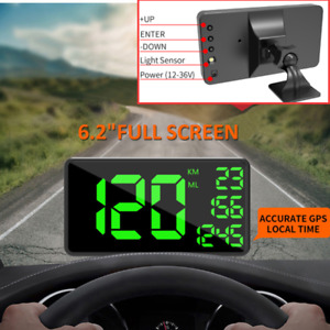 "6.2"" Universal Car Truck Head Up Display HUD KM/h Speeding Warning w/Bracket"