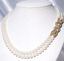 LUXUS 2reihg Perlenkette Gelbgold plattiert Designer Schliesse (G8)