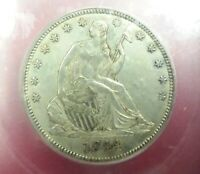 Sweet 1844 US Liberty Seated Silver Half Dollar 50c Graded AU58 ONLY 1,000 Exist