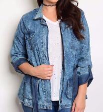Size 3X DENIM JEAN JACKET SHIRT TOP Womens Plus BLUE 3/4 Sleeves FASHION WEB New