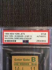 Psa 1964 New York Jets Inaugural Game @  Shea Stadium Ticket Stub