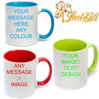 PERSONALISED COLOURED INSIDE HANDLE MUG YOUR PHOTO TEXT DESIGN CUSTOM MUG GIFT