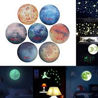 Luminous Glow in the Dark Moon Wall Sticker Waterproof Kid Room Decal Home Decor