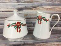 Poinsettia and Ribbon Sugar Creamer Bowl Set Christmas Fine China Gold Trim 4.75