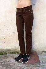 JECKERSON Donna Dritto Stretch Marrone Scuro Jeans In Denim Pantaloni W27 Uk10