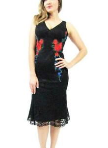 NICOLE MILLER Sleeveless Embroidered Laced Floral Dress Size 6 (Black/Multi)