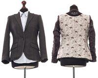 Women's BARBOUR Tweed Blazer Coat Jacket Striped Herringbone Grey Size UK 8 US 4