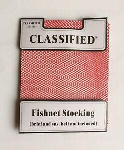 Classified Hosiery Fishnet  Stockings Red. New