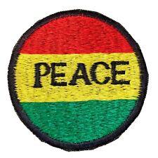 "RASTA Sew On Fabric Patch 'PEACE' - 3.25""/8cms diameter - Nepal Fair Trade"