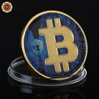 WR Bitcoin 24K chapado en oro BTC moneda física física moneda colección