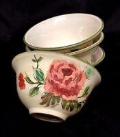 "4  Set ""Old English Rose"" Tan Ceramic Cereal Bowls Pink Flowers Green Trim China"