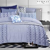Carson Luxury Soft Check Stripe Cotton Rich Non Iron Duvet Cover Bedding Set