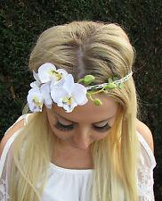 White Orchid Flower Garland Headband Hair Crown Festival Boho Headpiece 1725