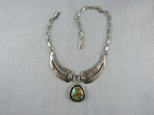 """Vintage sterling silver wings turquoise pendant necklace choker Navajo 13"""""""