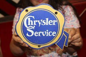 Chrysler Service Mopar Car Dealership Gas Oil Porcelain Metal Sign
