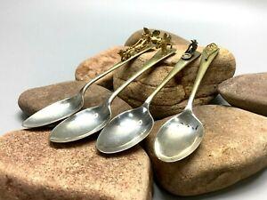4 Sterling Silver Figural Tea Spoons Canada Yukon Souviner