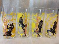 SET of 4 Don Ed Hardy Christian Audigier Spider Web Girl Drinking Glasses RARE