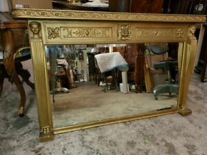 Large early 1900's Antique Gold Mantle Mirror - Egyptian Revival